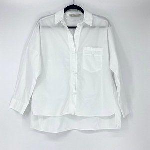 ZARA Oversized White Button Down Top Size XS